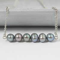 Gray Freshwater Pearl Beaded Minimalist Bar Necklace - Handmade Jewelry - Ready to Ship