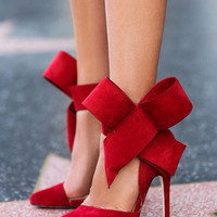 Elegant Solid Point Toe Big Bow Slim Heel Pumps