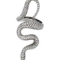 Black Rhodium Silver Diamond Snake Ring | Moda Operandi