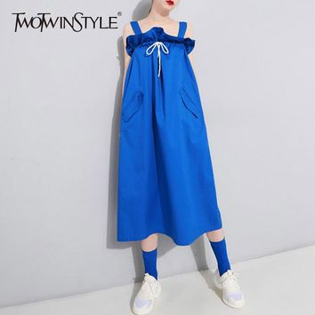 TWOTWINSTYLE Draw String Ruffles Dress For Women Strapless High Waist Pocket Oversize Long Dresses Fashion Harajuku Clothing