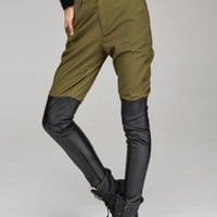 Leather look panel trousers