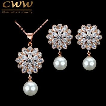 CWWZircons 2017 New Arrival Gorgeous Cubic Zirconia Flower Earring Necklace Women Fashion Pearl Jewelry Set Rose Gold Color T279
