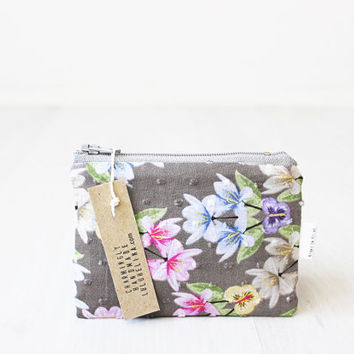Floral Coin purse, Tiny Zipper pouch, Small Gadget bag, Credit card case