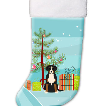Merry Christmas Tree Greater Swiss Mountain Dog Christmas Stocking BB4162CS