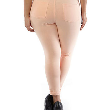 Plus-Size Like an Angel Soft, Rolled-Cuff Jeggings - Rainbow