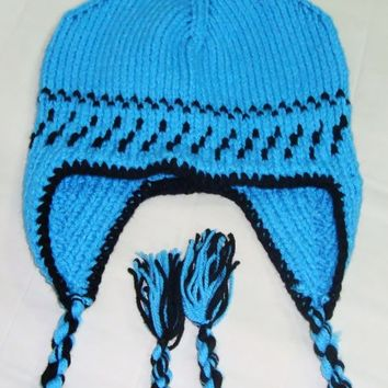 Hand Knitted Hat Earflap Hat Womens Hat in Blue Black - Ready to Ship