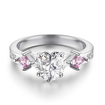 Caperci Sterling Silver Created Pink Sapphire and Heart Shaped Cubic Zirconia Promise Ring