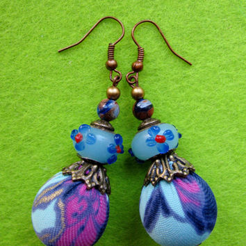 Recycled / upcycled fabric earrings-eco earrings-bohemian earrings-hippie earrings-flower earrings-blue earrings-ball earrings-blue-purple.