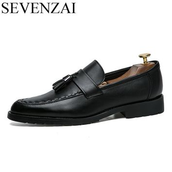 mens slip on tassel formal leather dress shoes luxury brand pointed toe ballet flats male italian elegant business oxford shoes