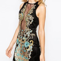 A Star Is Born Luxe Brocade Embellished Mini Dress