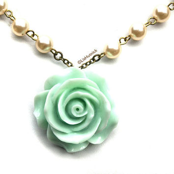 Big Mint Rose Necklace. Statement Jewelry. Resin Flower Pendant