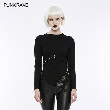 PUNK RAVE 2018 New Arrivals Women T-Shirt Punk Gothic Skinny Slim Profile Zipper Decoration Small Stand-collar T-shirt