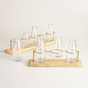 Milk Bottle Vase with Wood Rack