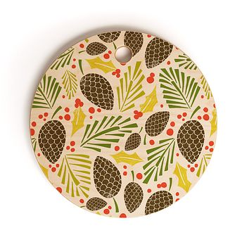 Heather Dutton Winter Woodlands White Cutting Board Round