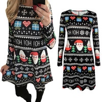 Fashion Women Christmas Party Dress Ladies Long Sleeve Santa Printing Swing Sheath Bodycon Mini Dress vestidos femininos 10937