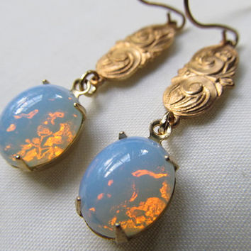 White Fire Opal Earrings Art Nouveau Earrings 1920s Brass Dangle Earrings- Romance
