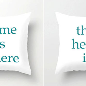 Home is Where the Heart Is decorative throw pillows - Set of TWO, engagement wedding anniversary housewarming gift idea, scatter cushions