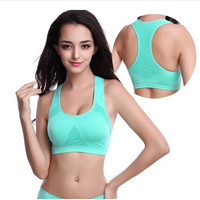 M-XL 2105 New Women Sports Top Sexy Padded Bra Crop Top Breathable Hollow Athletic Vest Gym Fitness Sports Stretch Women's Tanks
