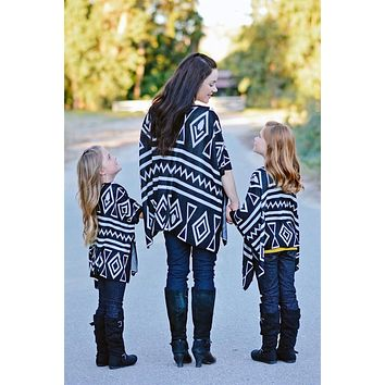 Mommy and Me Geometric Black Cardigan
