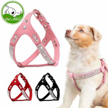 Soft Suede Leather Puppy Harness Rhinestone Pet Cat Vest Pet Puppy Harnesses For Small Medium Dogs Chihuahua Pink