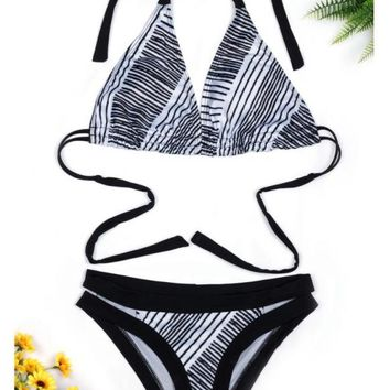 C| Chicloth Halter Striped Backless Push Up Bikini