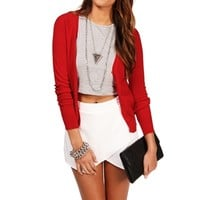 Red Long Sleeve Lightweight Cardi