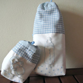 Dummy pouch and baby bottle cover set. Hand embroidered.