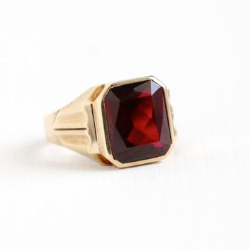Sale - Vintage 10k Yellow Gold 5+ Carat Created Ruby Ring - Size 7 1/2 Dark Red Stone Statement Gem-O-The-Month H.Hailparn Fine Jewelry