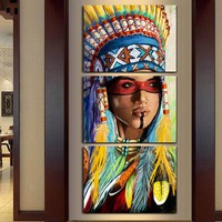 Native American Indian Women Feathered Headdress Canvas Wall Art Print for Home and Business Decor 3-Panel