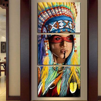 Modern Frame 3 Panel Native American Indian Girl Feathered Canvas Painting For Living Room Wall Art Prints Home Decor