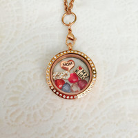 Large 30mm stainless steel rose gold mom memory locket For Mom with choice of stainless steel chain