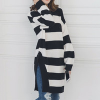 Casual Loose Stripe Knit Top Sweate Pullover Scoop Neck