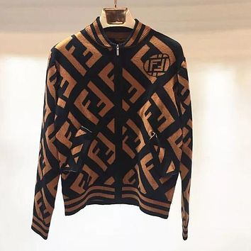 FENDI Trending Women Stylish Full F Letter Knit Long Sleeve Zipper Sweater Cardigan Jacket Coat Coffee I13659-1