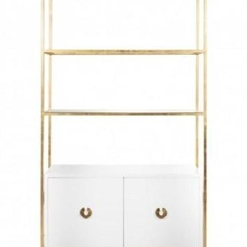 Wyeth White Lacquer Cabinet with Shelves | Gold