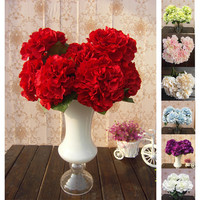 Mutli Color 5 Flower Heads Artificial Silk Fake Flower Bouquet Wedding Party Garden Decor Hydrangea