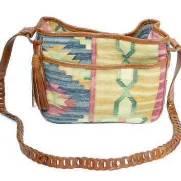 Vintage 90s Western Native Pattern Boho Festival Satchel Handbag Crossbody Purse