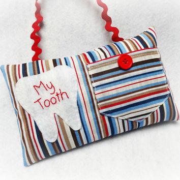 Tooth Fairy Pillow- Blue, Brown, and Red For Boys