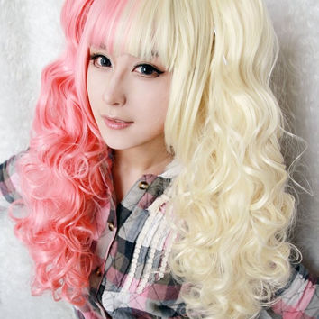 Hot Selling Cartoon Figure Curly Mixed Color Sexy Women Anime Lolita Two Ponytails Heat Resistant Synthetic Cosplay Wigs,Colorful Candy Colored synthetic Hair Extension Hair piece 1pcs WIG-222A