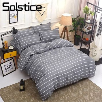Cool Solstice Home Textile Twin Queen King Bedding Sets For Girl Boy Kid Teen Gray Stripe Duvet Cover Pillowcase Bed Sheet Linen SuitAT_93_12