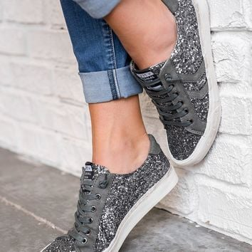 Sparkle In Your Eye Tennis Shoes (Pewter)