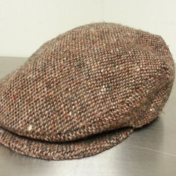 Vintage 90's Hanna Hats Tweed Style Wool Newsboy Cabbie Hat Sized Medium Hipster Style Dad Hat Golf Cap Made in Ireland Fall Fashion