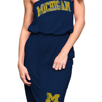 Michigan Wolverines Original Retro Brand Dress - Navy Blue Wolverines Tube Dress