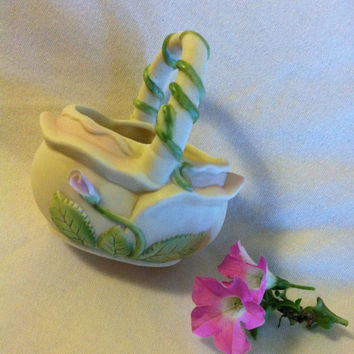 Porcelain Pink Floral Basket Vintage OCI Omnibus Ivory Bone China Basket With Pink Flower Bud and Green Leaves Figurine Trinket Candy Dish