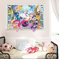 Twilight Sparkle Apple Jack Pinkie Pie bedroom wall decor stickers cartoon wall decals my little pony 3d window mural art girls SM6