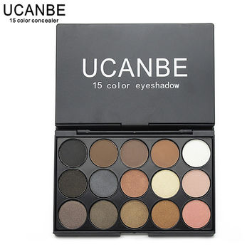 UCANBE Makeup Cosmetics Palette 15 Color Matte Pigment Eyeshadow Earth Color Shimmer Nude Eye Shadow Waterproof Eyebrow Powder