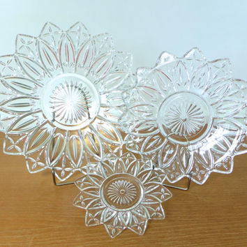 Federal Glass Petal glass replacement dishes for three tiered serving tray, no hardware