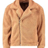 Plus Teddy Faux Fur Aviator Jacket | Boohoo
