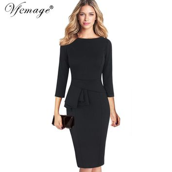 Peplum 3/4 Sleeve Tunic Vintage Work or Party Stretch Bodycon Sheath Dress