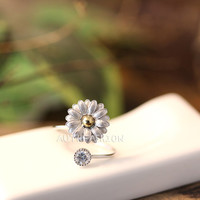 Sterling Silver Daisy Ring floral Flower Adjustable Free Size Silver Jewelry