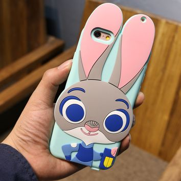 Zootopia Cute Judy&Nick Silicon Shockproof  Iphone 5se 6 6s plus  Case